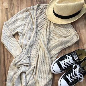NWT Poof Waterfall Tan Cardigan Large Knit